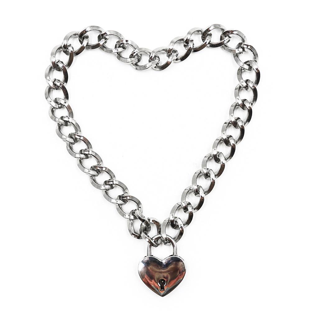 Fashion Women Punk Cool Neck Collar Slave Game Pet Heart-Shape Ring Padlock Metal Choker Necklace thickened  heart lock collar