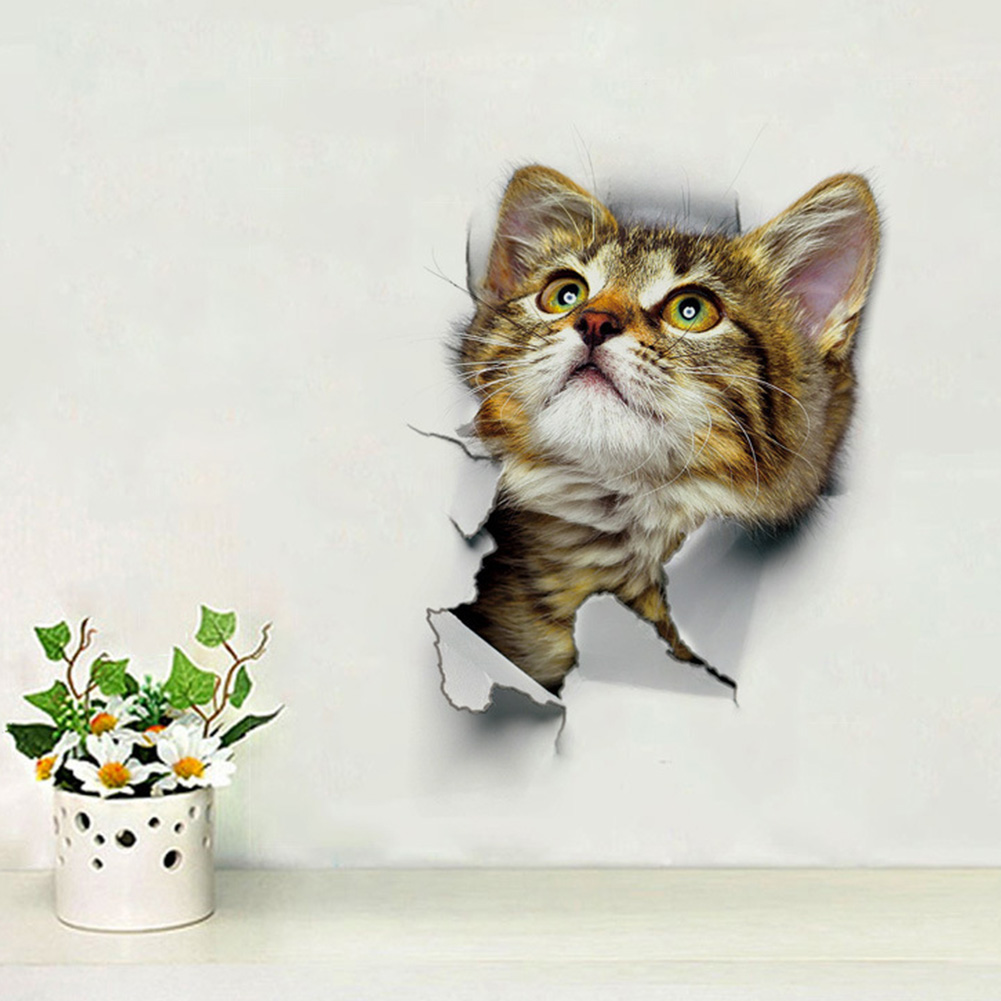 Hole View 3D Cat Wall Sticker Bathroom Toilet Living Room Home Decor Animal Vinyl Decals Poster XH2001