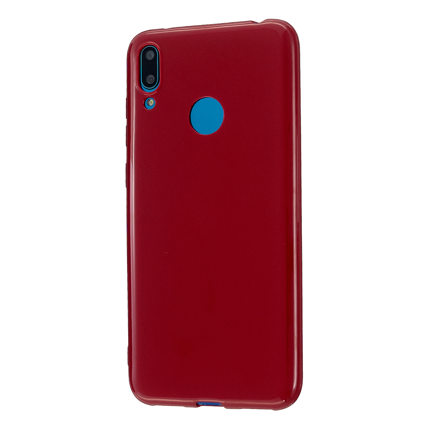 For HUAWEI Y6/Y7 Prime 2019 Glossy TPU Phone Case Mobile Phone Soft Cover Full Body Protection Rose red