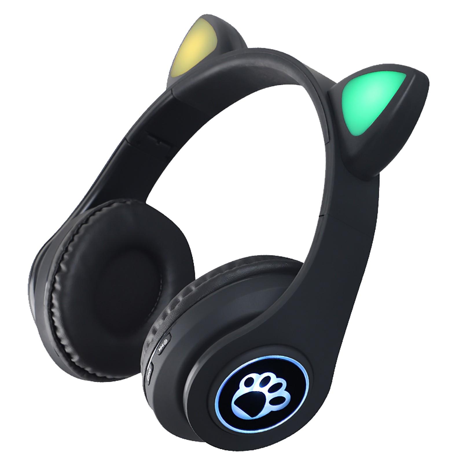 Gaming Earphones B39 Cat Ear Wireless 5.0 Luminous Noise Gaming Headset Bluetooth-compatible Headphones Black