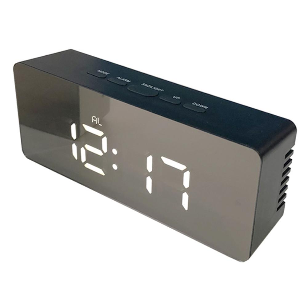 Multi-functional Stylish LED Mirror Electronic Alarm Clock Mini Cosmetic Mirror Bedside Clock  Rectangular black shell white light