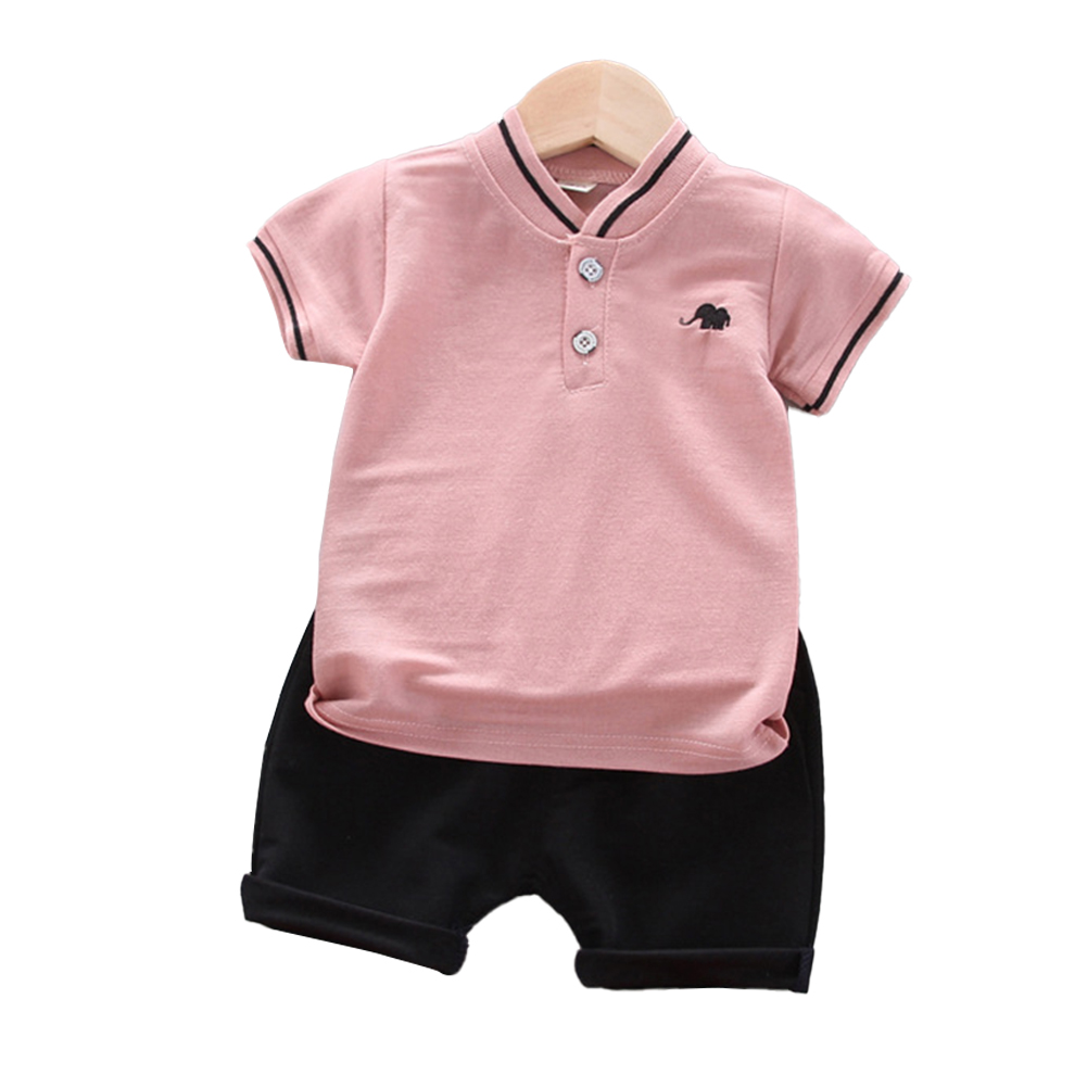 Kids Boys Cotton Embroidered Shirt with Elephant Printing + Shorts for Baby Pink_100cm