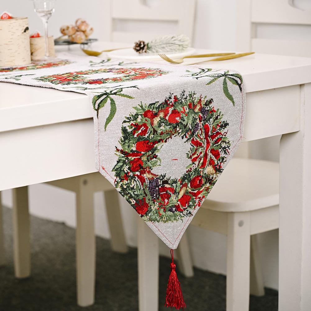 Christmas Long Table Runner Party Dinner Non-slip Cloth Home Decor  Garland