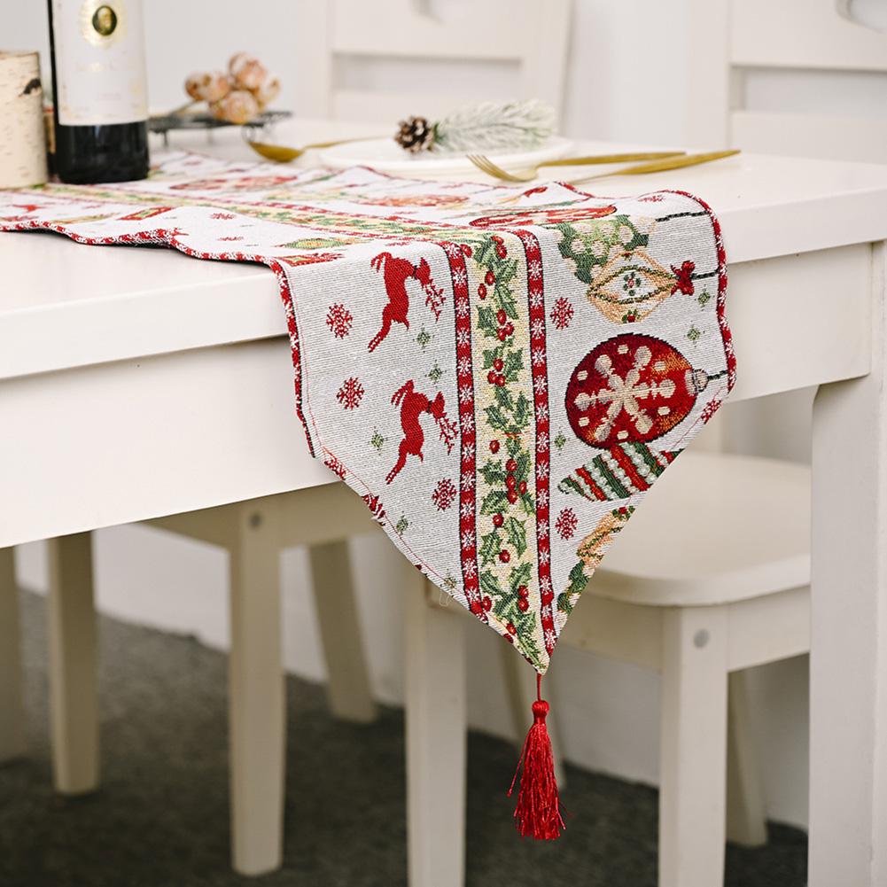 Christmas Long Table Runner Party Dinner Non-slip Cloth Home Decor  Elk