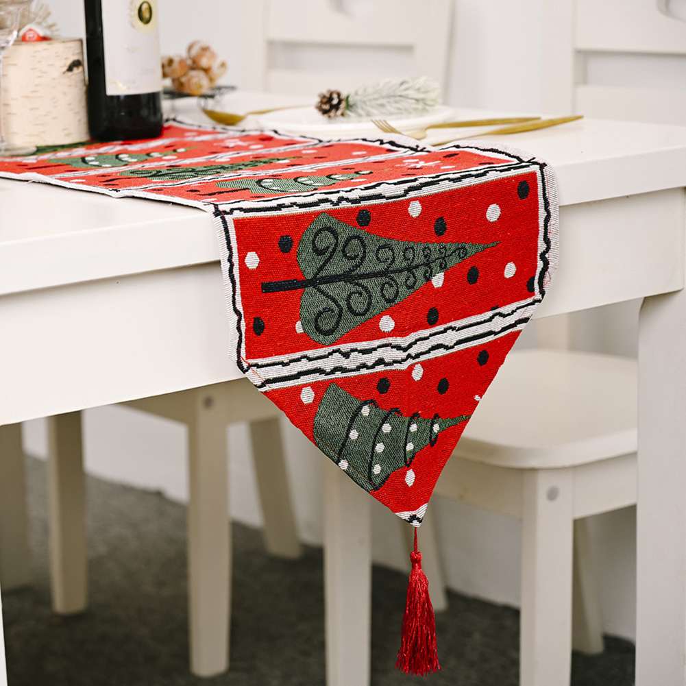 Christmas Long Table Runner Party Dinner Non-slip Cloth Home Decor  Small tree