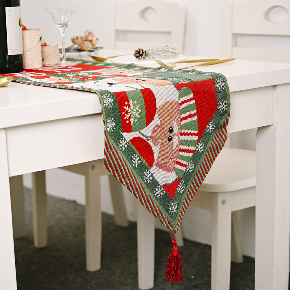 Christmas Long Table Runner Party Dinner Non-slip Cloth Home Decor  old man