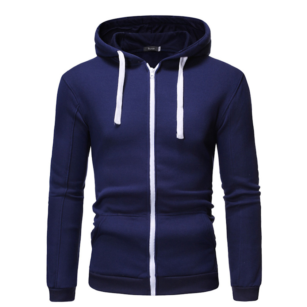 Men Long Sleeve Zipper Hoodie Fashion Solid Color with Drawstring Sports Casual Sweatshirt  Navy blue_L
