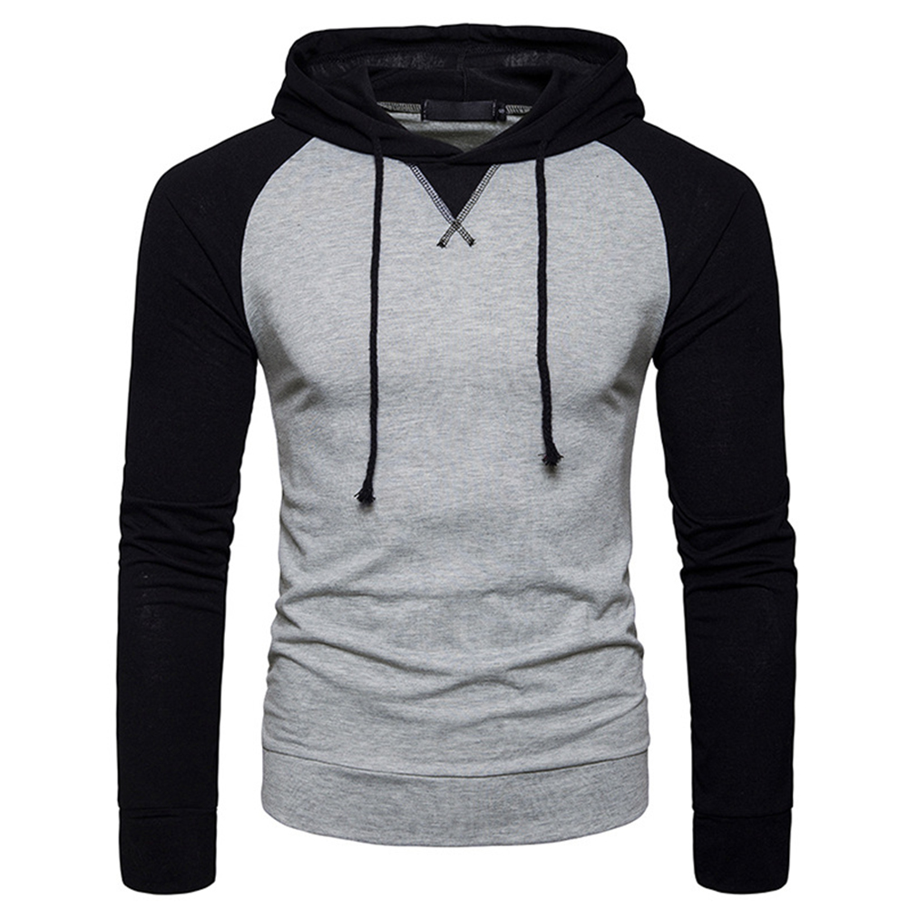 Men Hip-hop Long Sleeve Hoodie Fashion Combined Color Sports Casual Pullover Sweatshirt  light grey_L