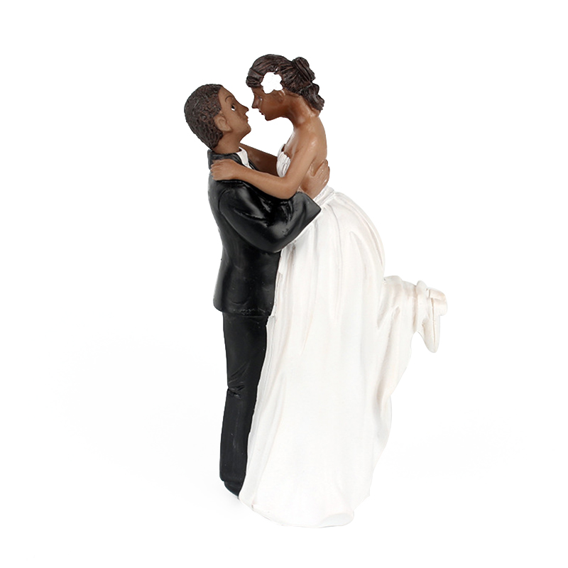 [EU Direct] African American  Romance Wedding Anniversary Cake Toppers Couple Happy Bride and Groom