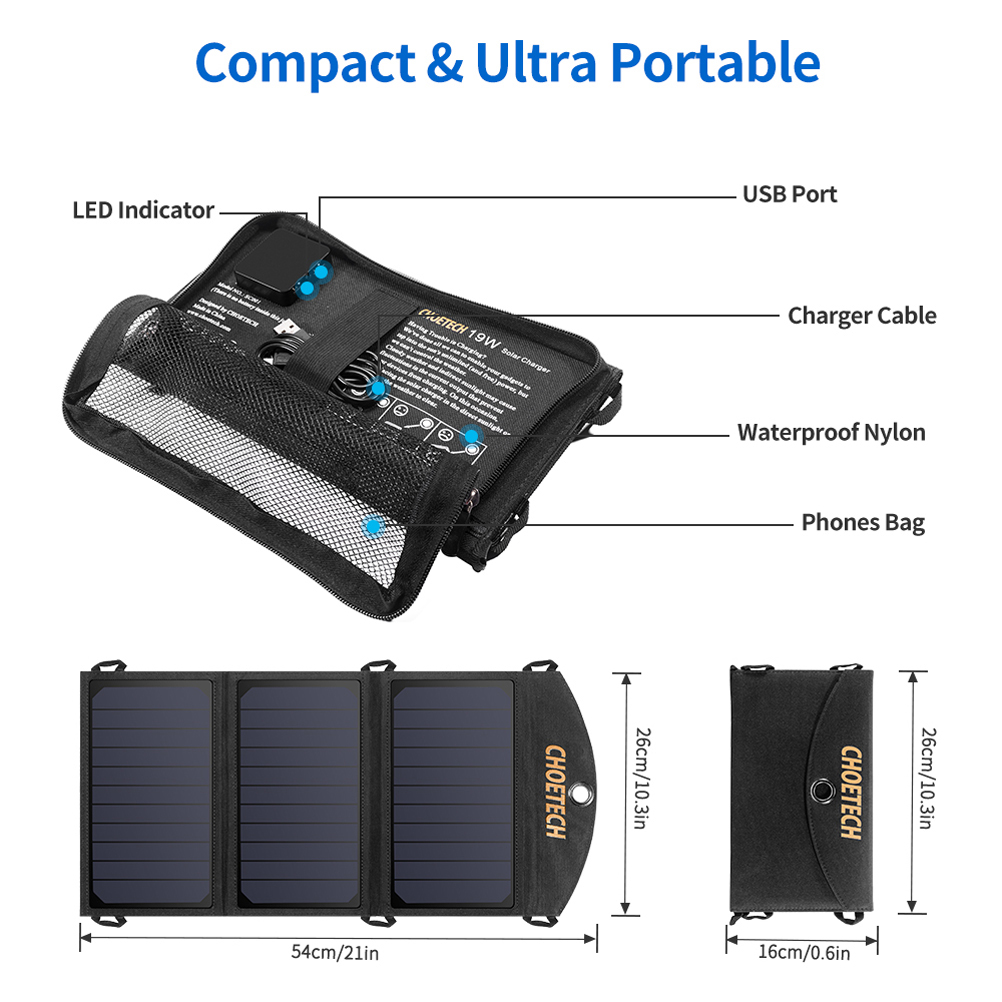 [US Direct] Original CHOETECH 19W Solar Phone Charger Dual USB Port Camping Solar Panel Charger Compatible with iPhone XS series, iPad Air 2 Mini 3, Galaxy S10series Black