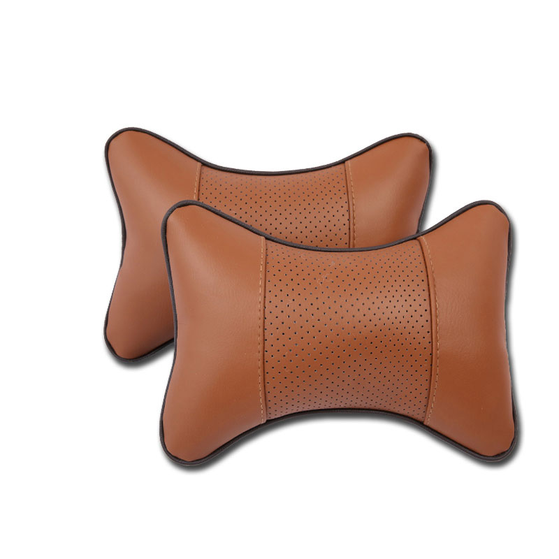 2 Pcs Car Headrest Seat Head Neck Rest Cushion Breathable Comfortable Pillow Pad  brown