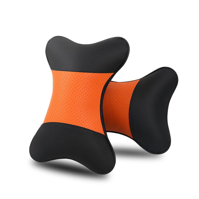 2 Pcs Car Neck Pillow Breathable Auto Rest Cushion Comfortable Soft Pillows Orange
