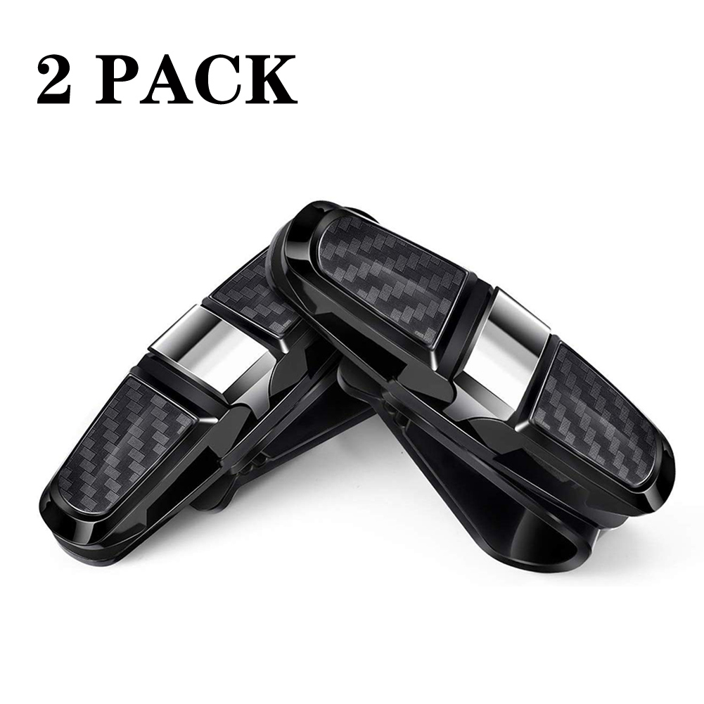 2PCS ABS Sun Visor Clip Sunglasses Holder for Car Sun Visor Car Sunglasses Clip Glasses Hanger Mount Silver