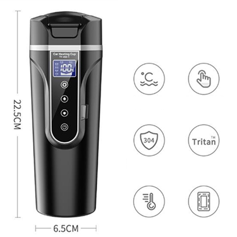 Car Electric Cup Portable Universal Portable Car Electric Kettle Traveling Heating Cup black_Car 12v / 24v