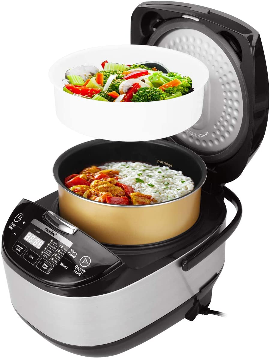 [US Direct] COMFEE 5.2Qt (20 cups Cooked) Asian Style Programmable All-in-1 Multi Cooker, Rice Cooker, Steamer, Sauté, Yogurt maker, Stewpot