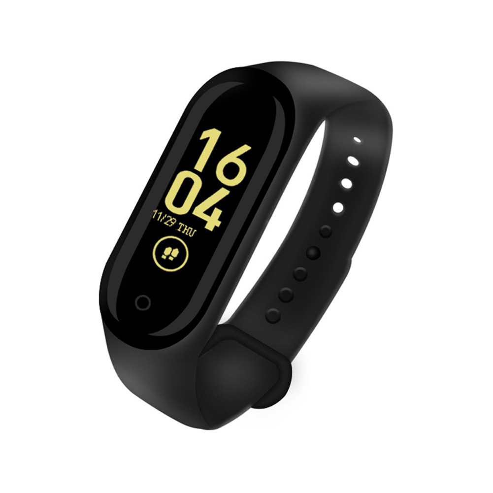 M4 Smart Band Sport Fitness Pedometer Bracelet Blood Pressure Wristband Walk Step Counter Base charge-Black