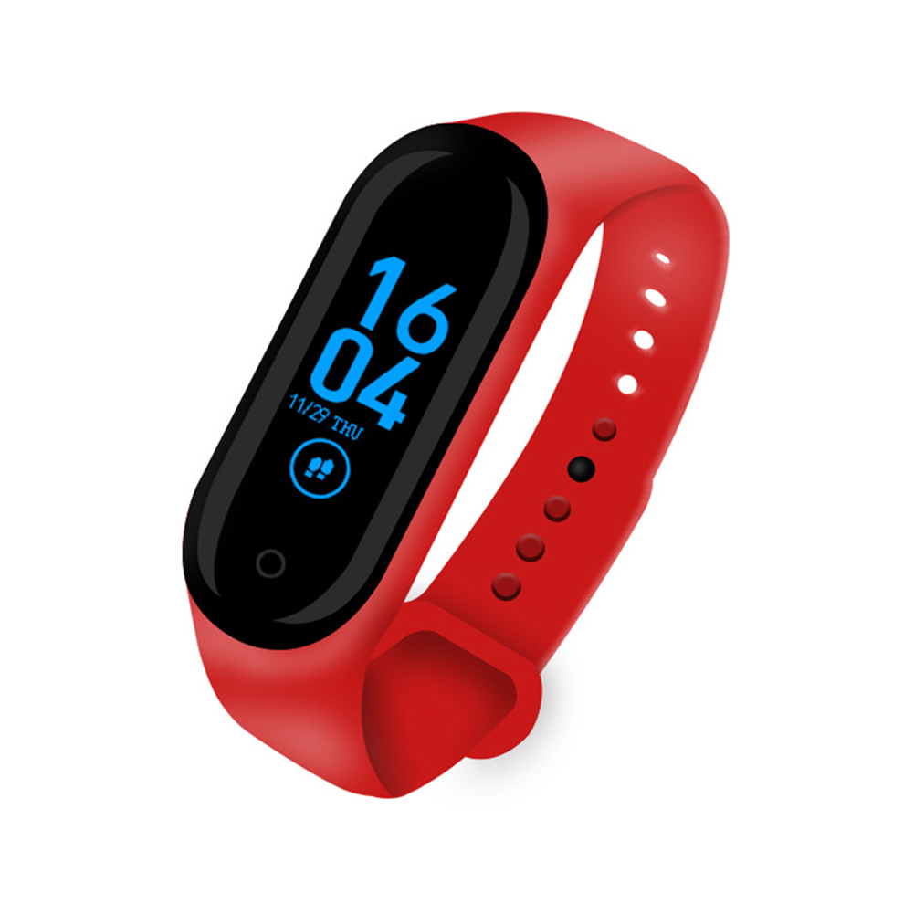 M4 Smart Band Sport Fitness Pedometer Bracelet Blood Pressure Wristband Walk Step Counter Base charge-red