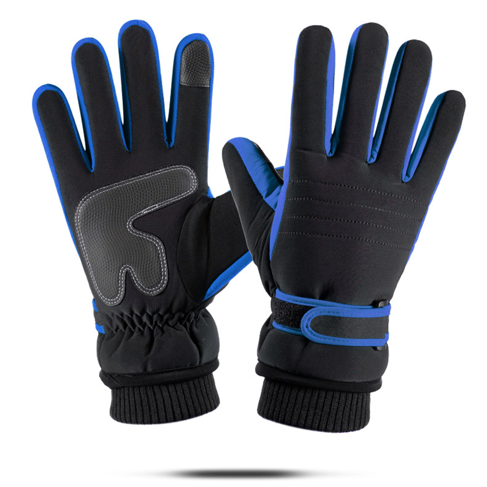 Touch Screen Outdoor Sports Ski Riding Bike Gloves Winter Waterproof Cycling Full Finger Warm Pigskin Gloves  blue_One size