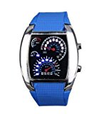 Yesurprise Fashion Silicone Rubber Band Blue Binary DOT Unisex LED Wrist Watch