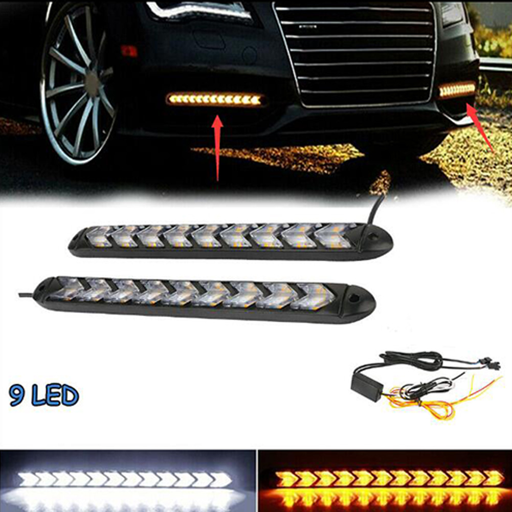 2PC LED Car Flexible DRL Switchback LED Knight Rider Strip Light Headlight Arrow Flasher DRL Turn Signal Waterproof White light to yellow light_9LED on black