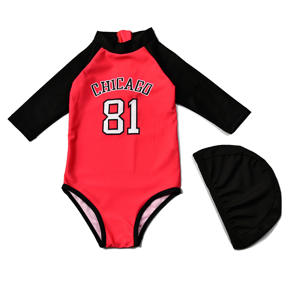 2pcs For 2-7 Years Old Kids One-piece Swimsuit Sunscreen Long Sleeve With Swimming Cap Swimming  Set red_L