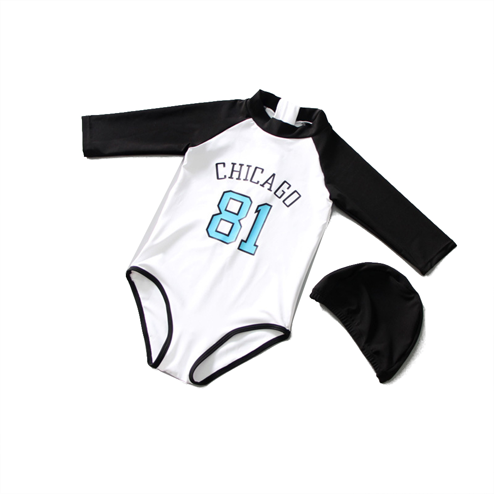 2pcs For 2-7 Years Old Kids One-piece Swimsuit Sunscreen Long Sleeve With Swimming Cap Swimming  Set white_M