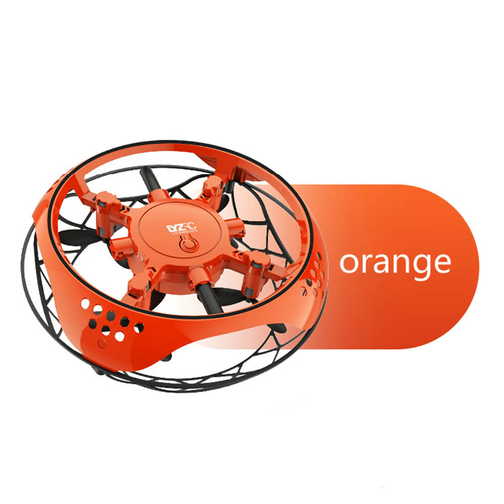 Small Intelligent Induction Four-axis Aircraft Resistant to Mill Suspension Aircraft UFO Mini Drone Toy orange