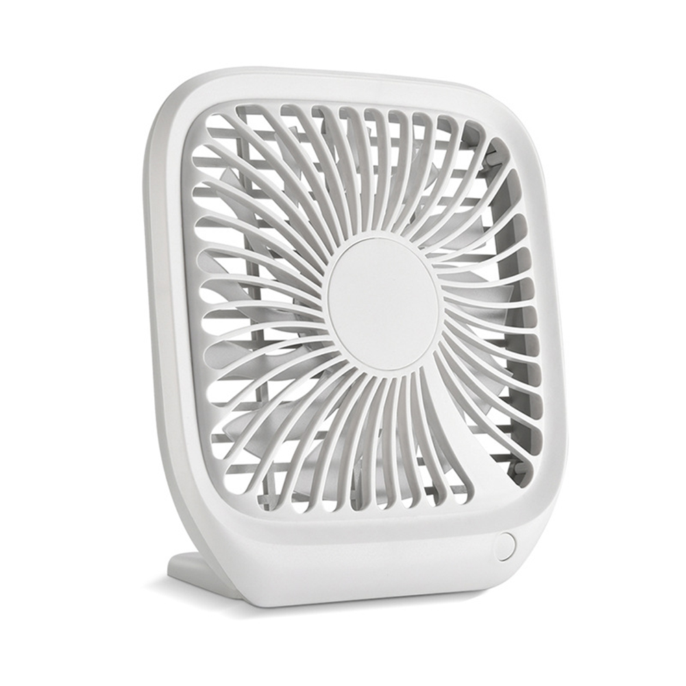 Portable Mini USB Charging Noiseless Desktop Electric Fan for Dormitory Office Gray-white_15.8*14.3*3.6CM