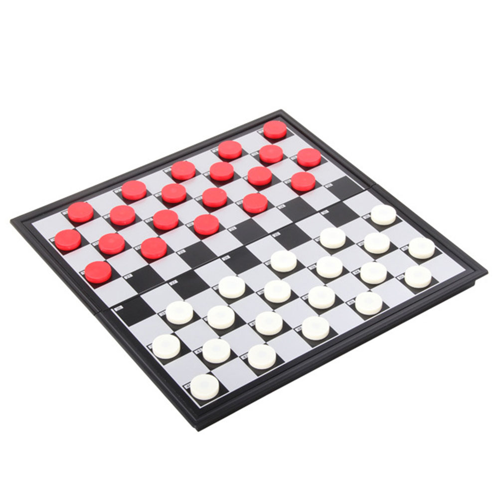 1 Set Checkers Folded Magnetic Plastic Collapsible Checkers Set Draughts Checkers Chess 100 checkers (red and white)