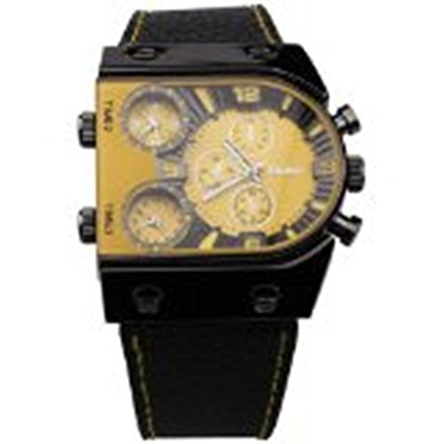 OULM Mens Oversize 3 Time Zone Military Sport Leather Quartz Watch, Yellow
