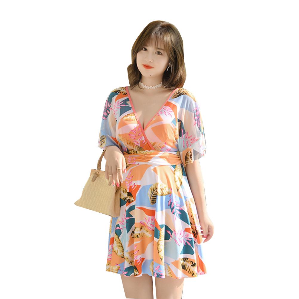 Women Swimsuit One-piece Color Patchwork Slimming Conservative High-waist Swimsuit Orange_XL