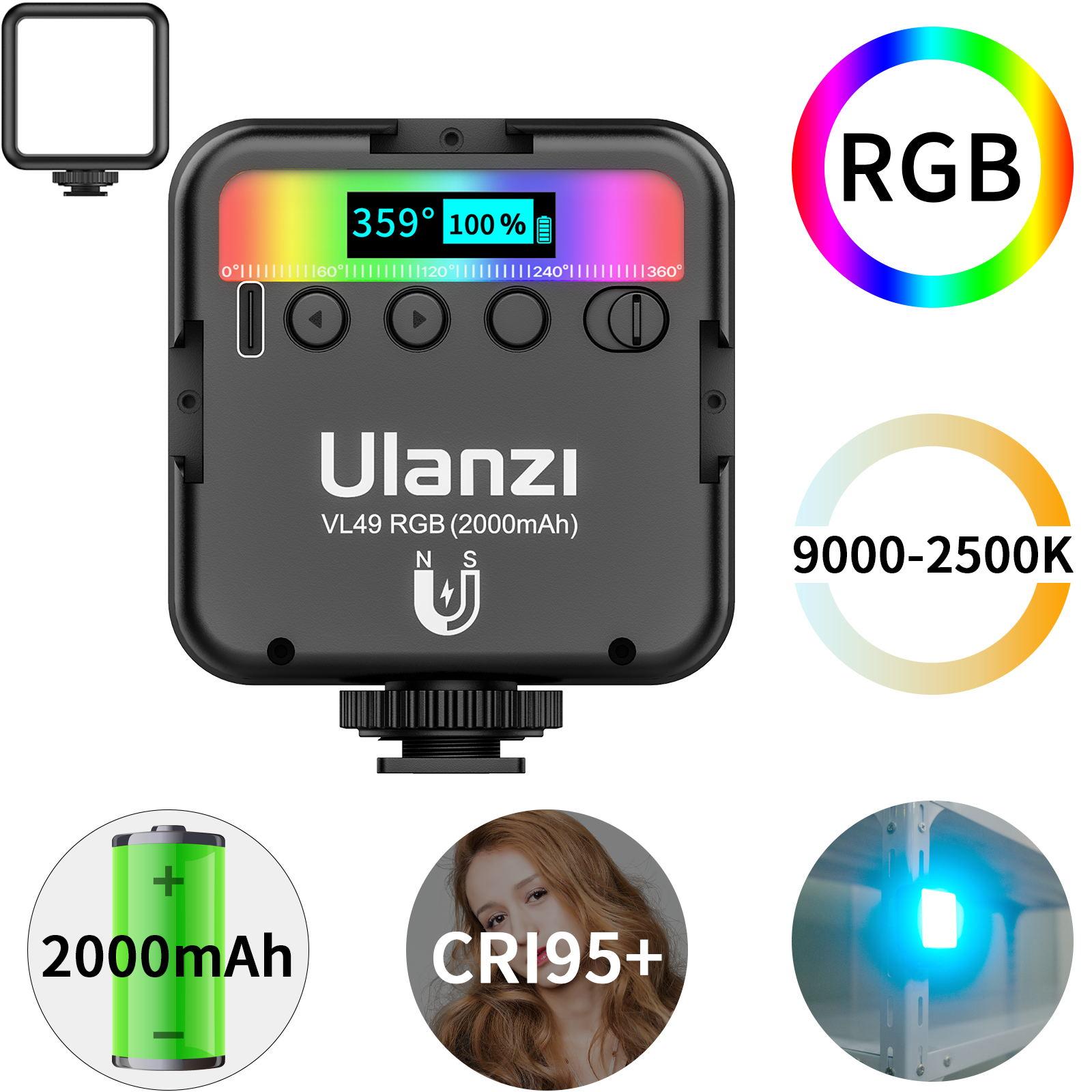 VL49RGB Fill Light Portable Multi-function Three-head Cold Boot Full-color Lighting Lamp