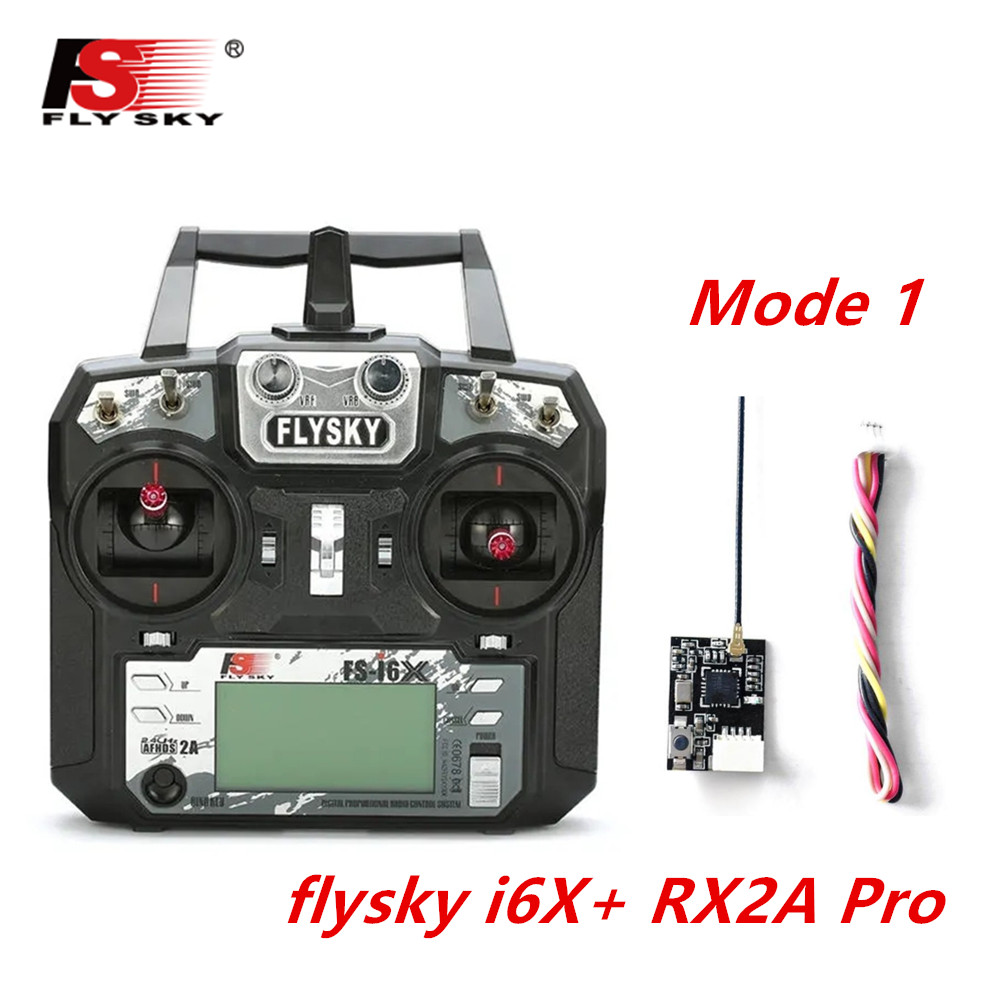 FLYSKY FS-i6X FS i6X 2.4GHz 10CH AFHDS 2A RC Transmitter X6B iA6B A8S iA10B iA6 Fli14+ Receiver for RC FPV Racing Drone Right hand single control+RX2A Pro V1