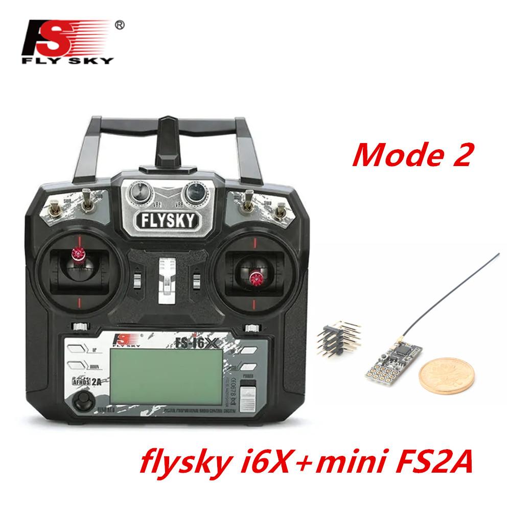 FLYSKY FS-i6X FS i6X 2.4GHz 10CH AFHDS 2A RC Transmitter X6B iA6B A8S iA10B iA6 Fli14+ Receiver for RC FPV Racing Drone Left hand single control+FS2A
