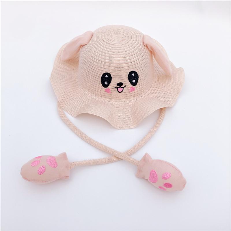 Kids Children Cute Cartoon Dance Ears Rabbit Airbag Cap Fisherman Straw Hat
