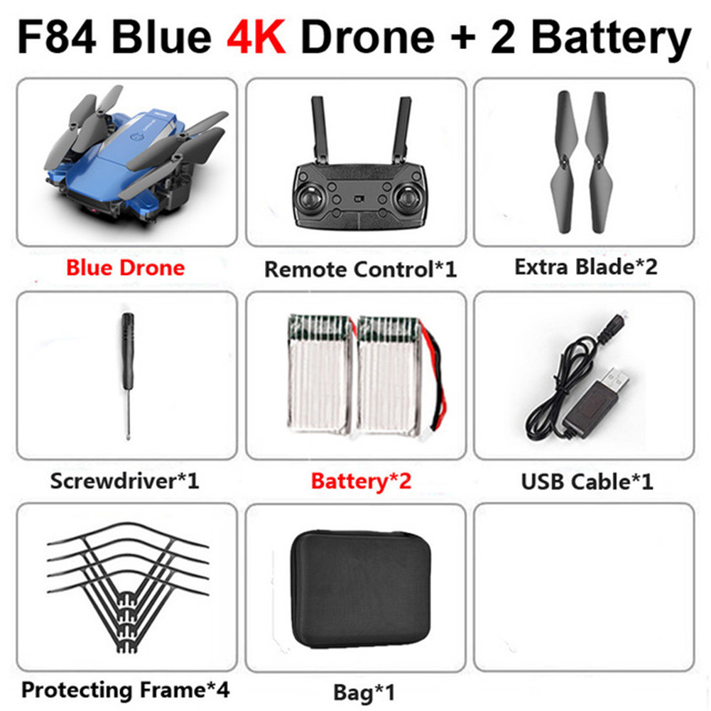 F84 Quadcopter Wireless RC Drone With 4K/5MP/0.3MP HD Camera WiFi FPV Helicopter Foldable Airplane For Children Gift Toy blue_4K 2B