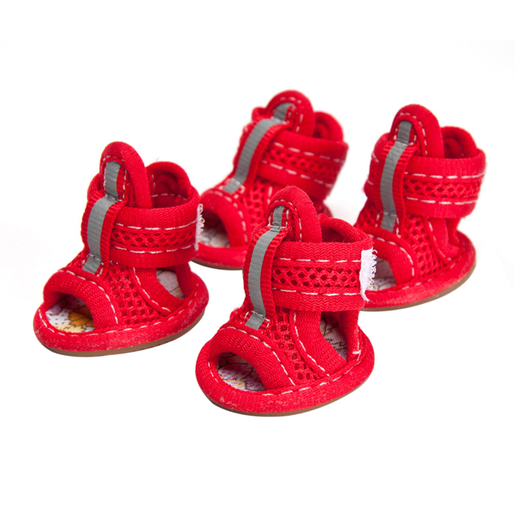 4 Pcs/set Pet Shoes Tendon Bottom Mesh Breathable Sandals For Dogs red_number 1