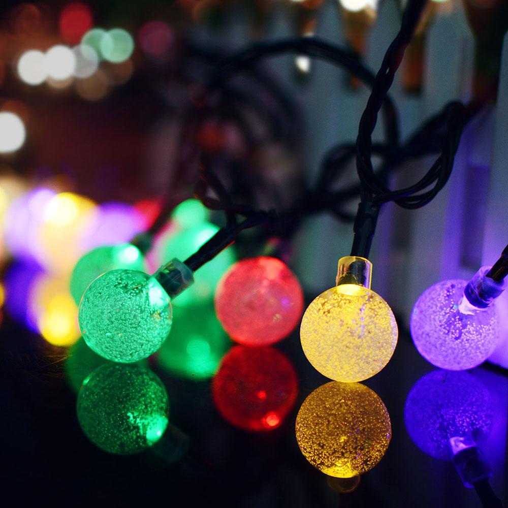 7M 50LEDs Bubble Ball Shape Solar String Light for Wedding Party Deocration Color light_(ME0003403)