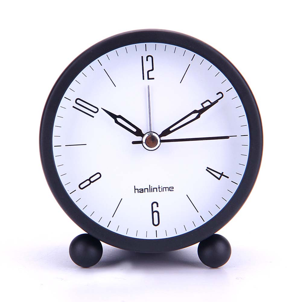 4 Inches Round Metal Desk Clock Simple Fashion Student Silent Alarm clock with Night Light Large black