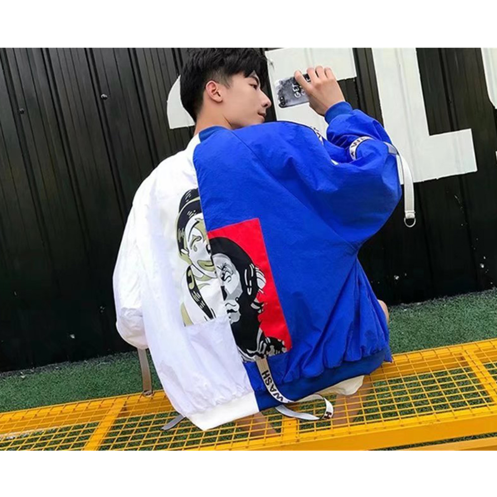 Contrast Color Cardigan Top Floral Printed Base Ball Jacket of Long Sleeves and Stand Collar White & blue_L