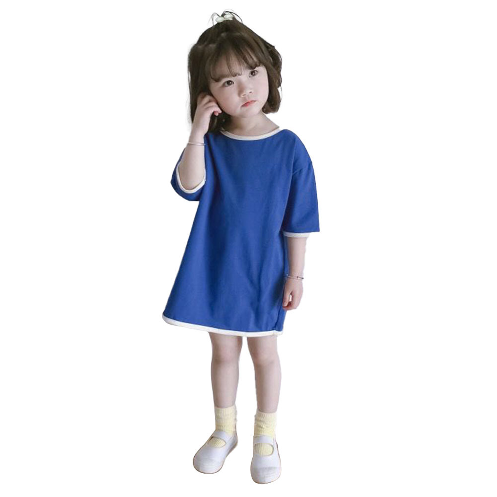 Girls Dress Mid-length Solid Color Casual Short-sleeved Dress for 3-6 Years Old Kids blue_120cm