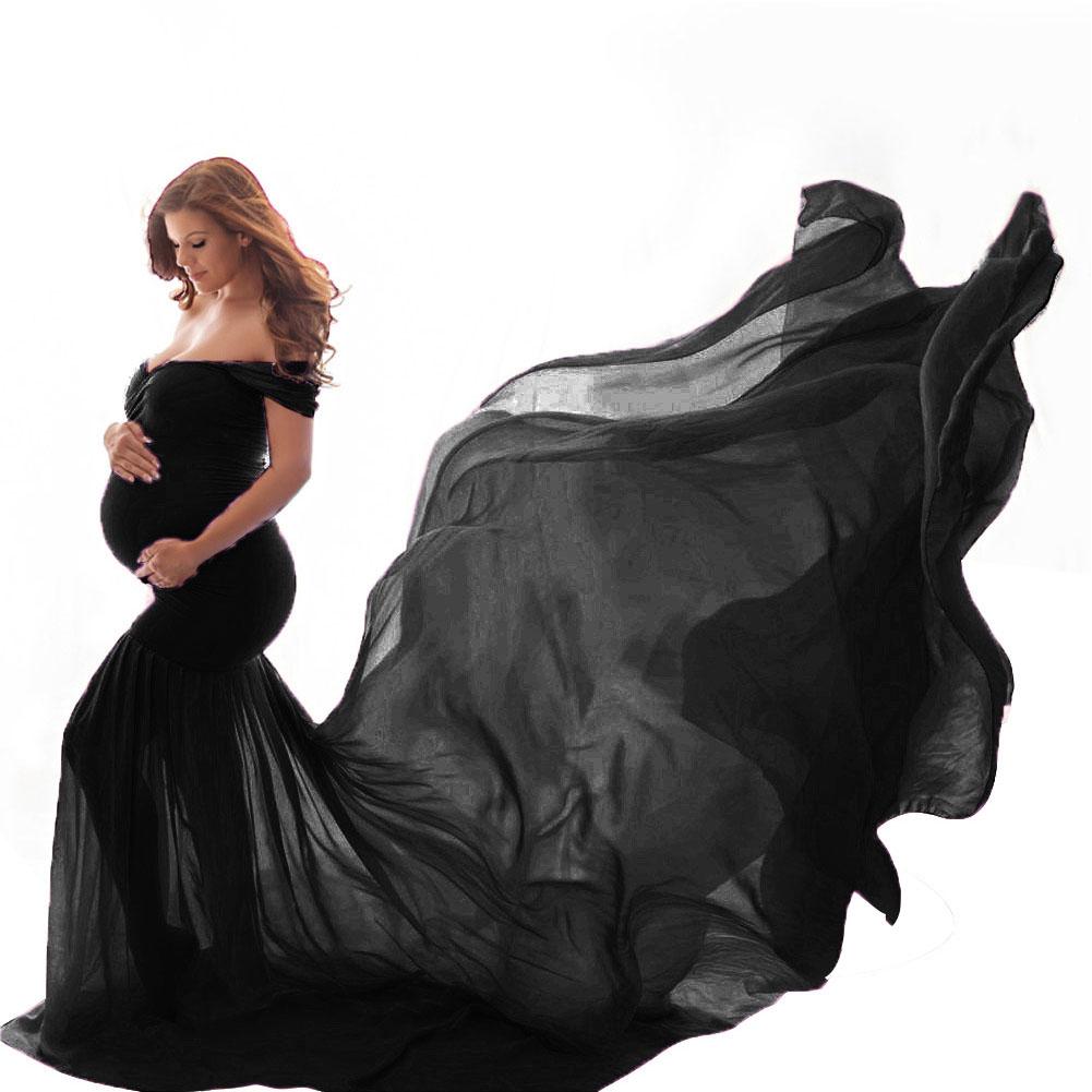 Women's Dress Off-the-shoulder Long Photography Chiffon Dress black_free size