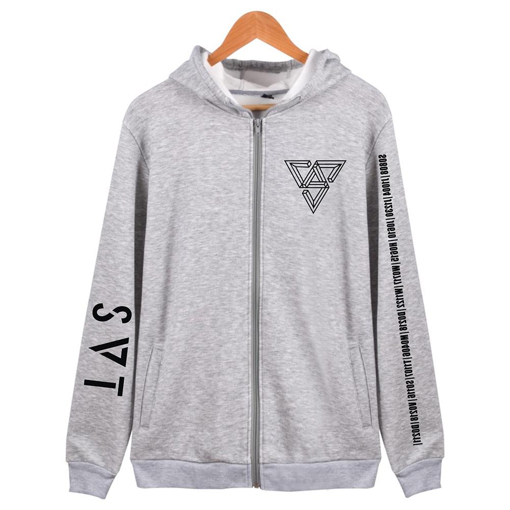 Women Men SEVENTEEN SVT Concert Autumn Zipper Sweater Coat Jacket Tops gray_L