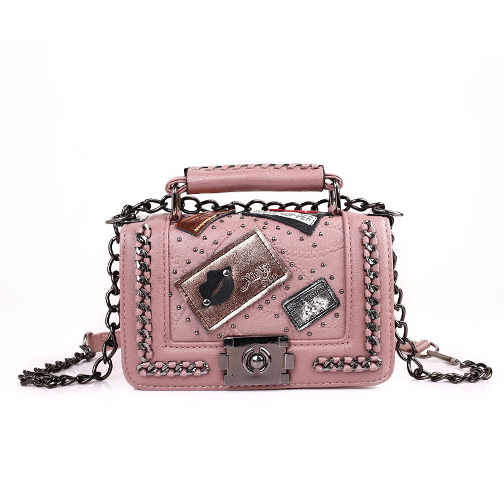 Women's One Shoulder Pack Lock Chain Rivet Small Square Messenger Bag Pink