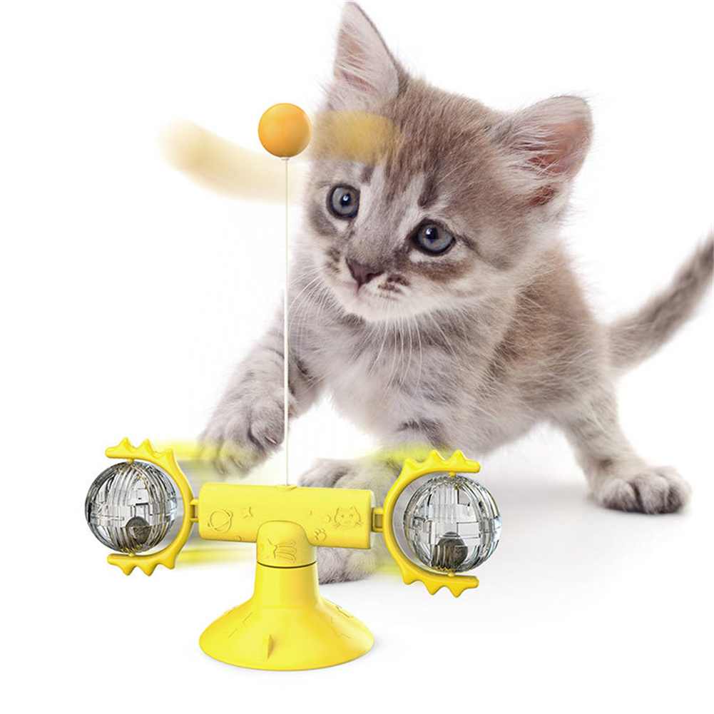 Cat  Carousel Pinwheel Pet Toy With Suctions Pet Funny Relieving Supplies Yellow