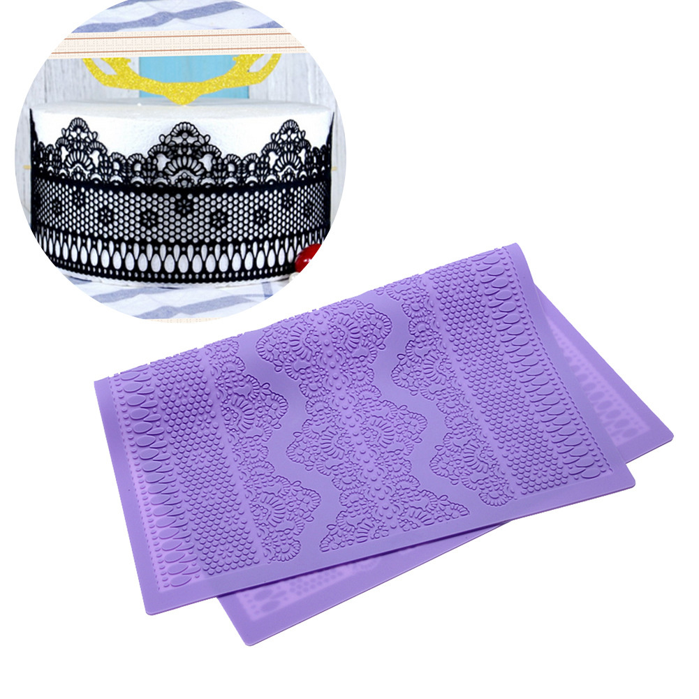 Silicone Cake Decorating  Mat Baking Lace Mold Cake Topper Flower Pattern Maker Purple