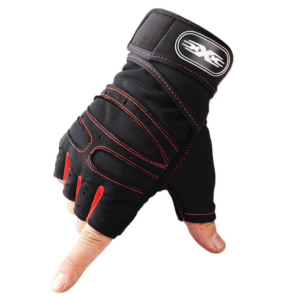 Man Anti-Skid Half Finger Gloves Comfortable Breathable Sports Gloves for Outdoor Sports Cycling Weightlifting black with red_L