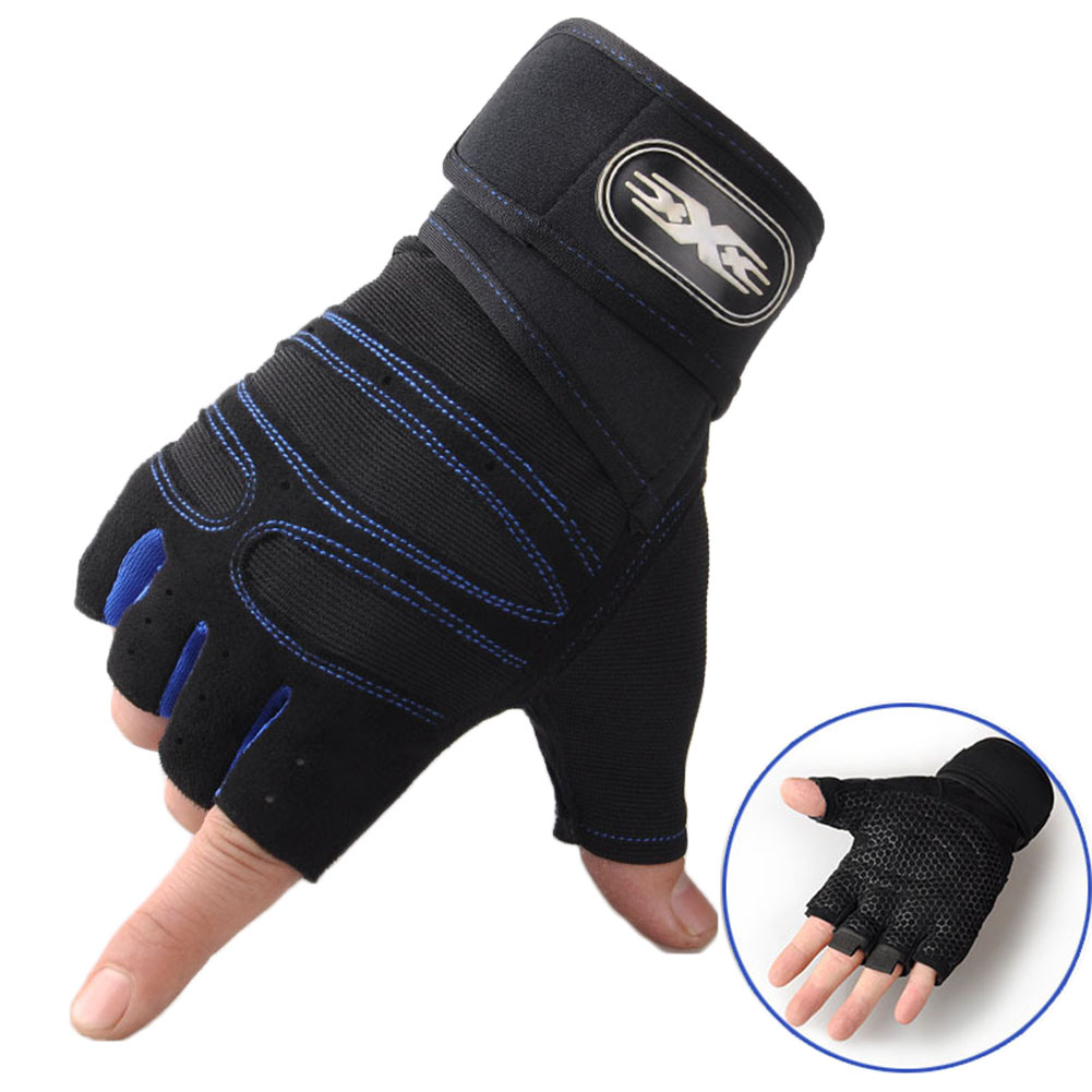 Man Anti-Skid Half Finger Gloves Comfortable Breathable Sports Gloves for Outdoor Sports Cycling Weightlifting black with dark blue_M