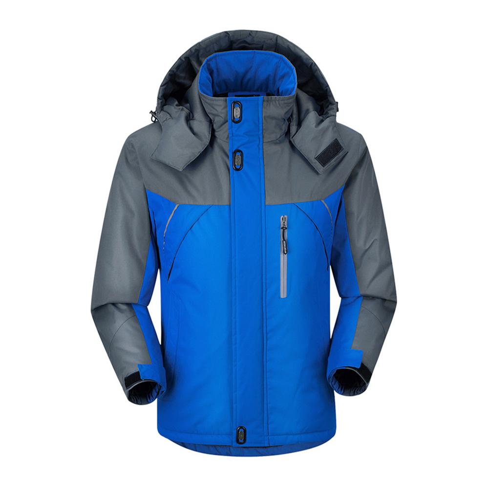 Men Outdoor Hiking Waterproof Jacket Warm Windproof Snowboarding Coat blue_M