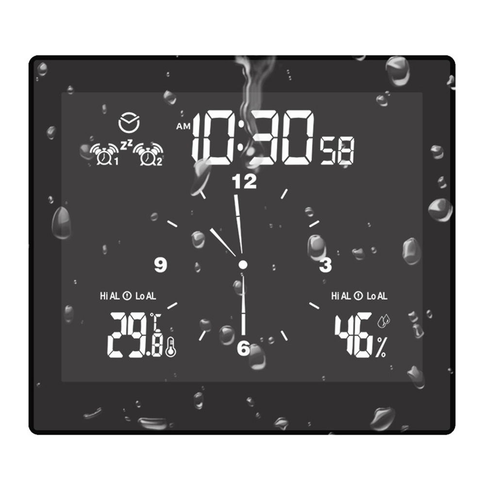 Digital Bathroom  Shower Kitchen Clock Timer Alarm Waterproof Temperature Humidity Clock black